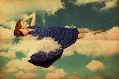 Pretty woman in blue dress — Stock Photo