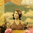 Vintage collage with beauty young woman in roses — Stock Photo