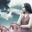 Beauty young woman smoking — Stok fotoğraf