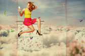 Collage. beauty oun woman on the sky, in clouds — Stock Photo