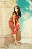 Beautiful woman in dress — Stock Photo
