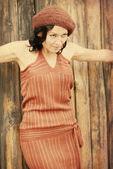 Vintage bild med vacker kvinna — Stockfoto