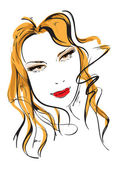 Hand-drawn fashion model. Woman's face — Stock Vector