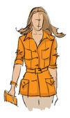 SKETCH. fashion girl. — Stock Vector