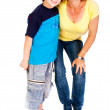 Grandmother and grandson hugging each other — Stock Photo #5888846
