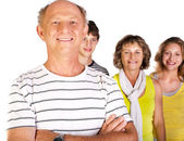 Happy family, old man in focus — Stock Photo