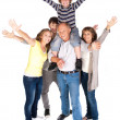 Happy family of five with young kid - Stockfoto