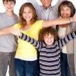 Happy family of five with young kid — Stock Photo