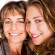 Close-up of smiling elder mum and daughter — Stock Photo
