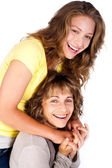 Portrait of smiling matured mum with her daughter — Stock Photo