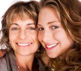 Close-up of smiling elder mum and daughter — Stock Photo