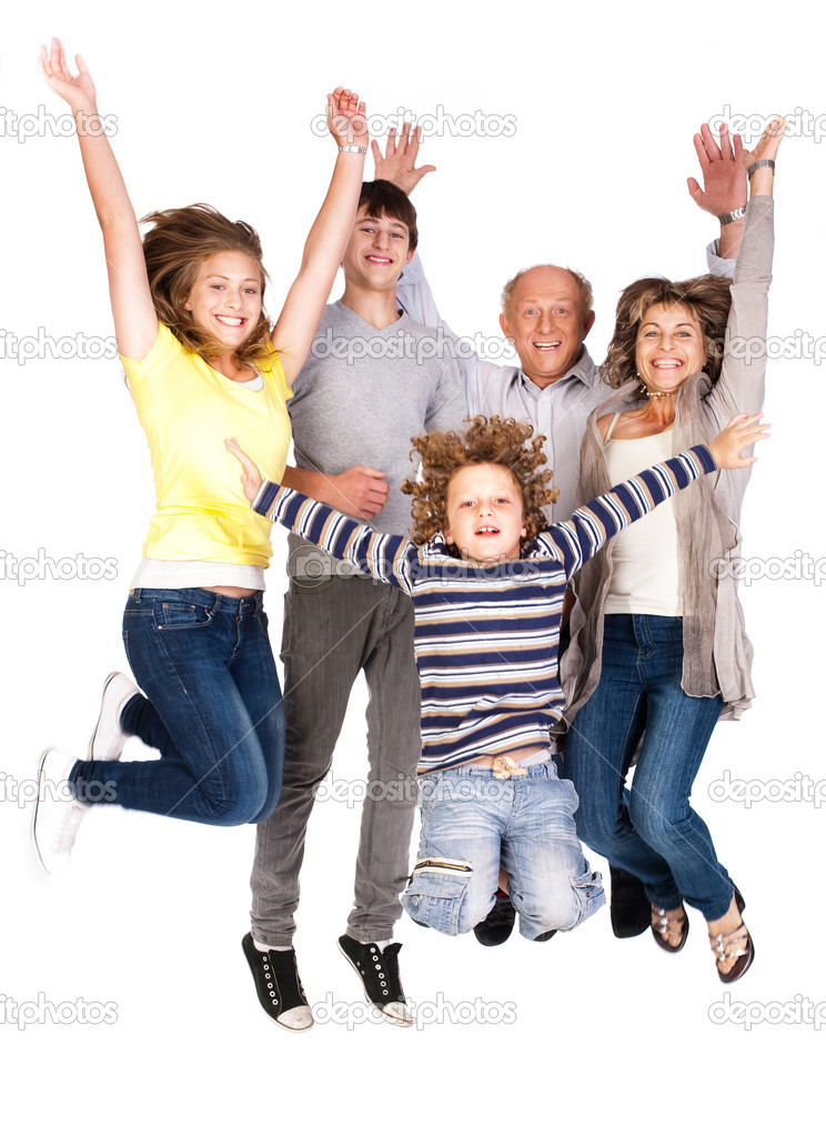 Jumping family having fun, enjoying indoors. — Stock Photo #5944285