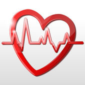 Heart with cardiograph — Stock Photo