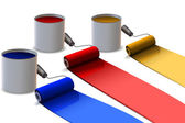 Colorful paint rollers — Stock Photo