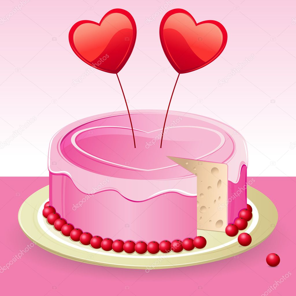 Heart Shaped Cake Stock Photos : Birthday cake with heart   Stock Photo ? get4net #5961708