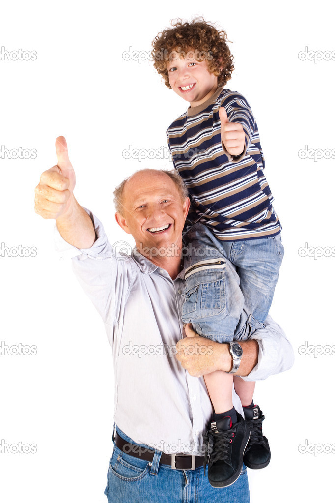 Thumbs-up pair of grandfather and grandson isolated on white background. — Stock Photo #5969827