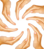 Human hands forming a circle with copy-space in the middle — Stock Photo