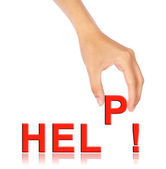 Hand pick up 'P' alphabet from help wording — Stock Photo