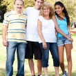 Portrait of smiling Caucasian family — Stock Photo