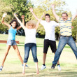 Stockfoto: Family jumping high in the air on a green meadow