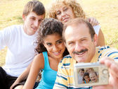 Attractive family pose for a self portrait — Stock Photo