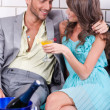Amorous couple celebrating together — Stock Photo
