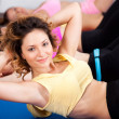 Group of gym in an aerobics class — Stock Photo