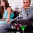 Annoyed young couple in bar or night club — Stock Photo