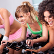 Stock Photo: Females cycling in spinning class in gym