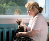The old woman caress cat — Stock Photo