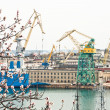 Stockfoto: Powerful shipbuilding shipyard