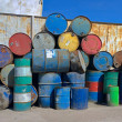 Oil rusty metal barrels — Foto Stock