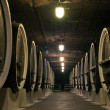 Wine barrels in the cellars of winemakers - Stock Photo