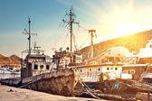さびた墓地船 — ストック写真