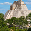 Mayan pyramid (Pyramid of the Magician, Adivino) in Uxmal, Mexic - Stock Photo