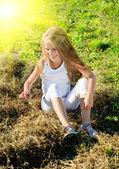 Eight years old girl — Stock Photo