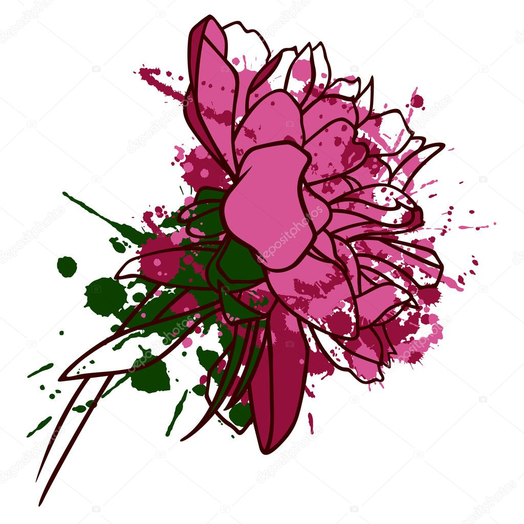 An image of peony with blots — Stock Vector #6104845