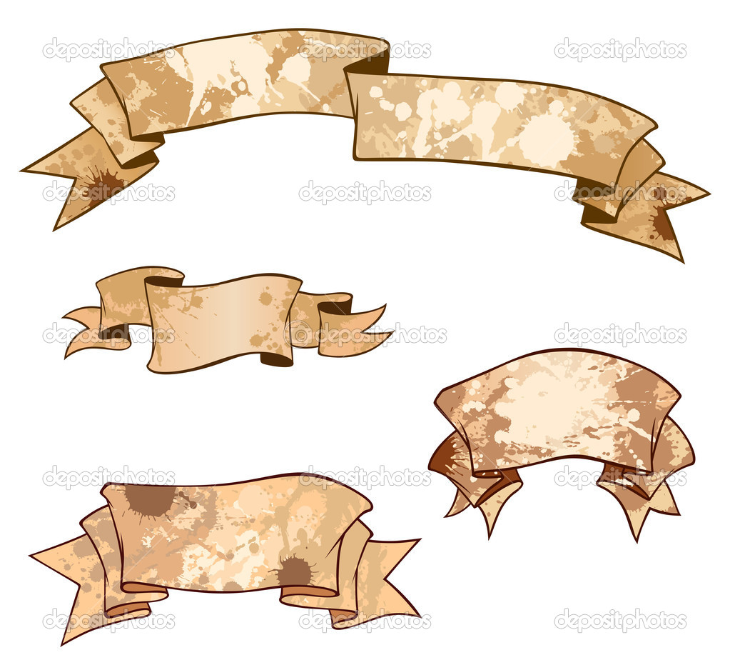 A set of heraldical ribbons with blots  Imagen vectorial #6278786