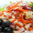 Healthy vegetarian Salad with salmon - Stock Photo