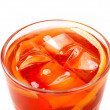 Red coctail drink with ice cubs - Stock Photo