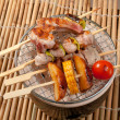 Japanese skewered  seafoods vegetables - Stock Photo