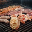 Cooking meat  barbecue - Stock Photo