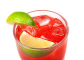 Red coctail drink with ice cubs closeup — Stock Photo