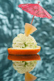 Photo of cutted orange with ice cream . — Stock Photo