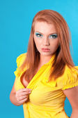 Beautiful cheerful redhead woman — Stock Photo