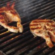 Salmon steak barbecue — Stock Photo