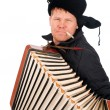 Russian man with accordion - Stock Photo