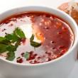 Borsch.Ukrainian and russian  soup - Stock Photo
