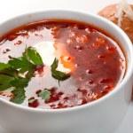 Borsch.Ukrainian and russian soup — Stock Photo