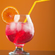 Red coctail drink with ice cubs — Stock Photo #6031934